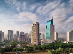 Its a nice sunrise picture of Jakarta City